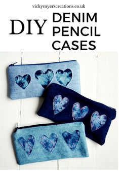 Learn how to make upcycled denim pencil cases. The tutorial demonstrates Shibori dye techniques to dye the fabric hearts #DIYPencilcases #pencilcasepattern