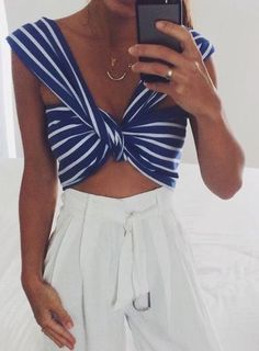 #summer #outfits / blue stripes + palazzo
