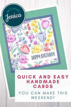 These beautiful handmade floral cards are easy to make in a weekend with this quick card making tutorial! #handmadecards #papercrafts #tutorial Handmade Cards For Friends, Diy Birthday Gifts For Friends, Birthday Gifts For Kids, Handmade Birthday Cards, Card Making Ideas For Beginners, Card Making Tips, Card Making Tutorials, Card Making Templates, Crafts To Do