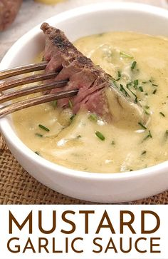 150 g salted butter 1 garlic clove crushed tbsp finely chopped fresh chives 2 tsp dijon mustard 2 tsp french mustard Beef Recipes, Cooking Recipes, Healthy Recipes, Garlic Sauce Recipes, Yumm Sauce Recipe, Yum Yum Sauce, Cooking Tips, Recipes With Mustard Sauce, Sauce A Fondue