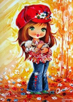 illustrations enfantines - Page 8 Illustration Mignonne, Cute Illustration, Vintage Pictures, Vintage Images, Cute Images, Cute Pictures, Art Mignon, Eye Art, Vintage Girls