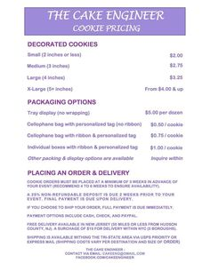 My Cookie pricing menu! In the Tri-State area? Here's all the info you need to place an order!