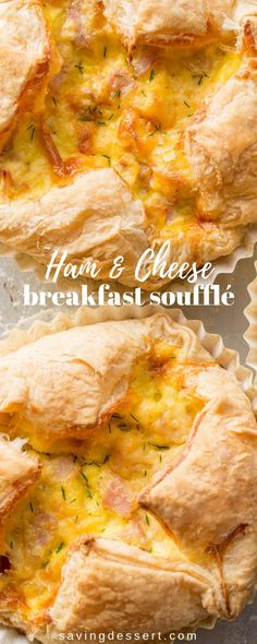 Ham & Cheese Breakfast Soufflé - loaded with smoked Gouda, ham, eggs and Parmesan all wrapped up in a puff pastry shell. A deliciously easy breakfast soufflé loaded with ham and cheese wrapped in a flaky puff pastry crust. Breakfast And Brunch, Breakfast Puff Pastry, Breakfast Souffle, Best Breakfast, Brunch Recipes, Breakfast Recipes, Breakfast Ideas, Parmesan, Souffle Recipes