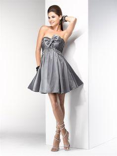 Short Grey Taffeta Homecoming Dresses