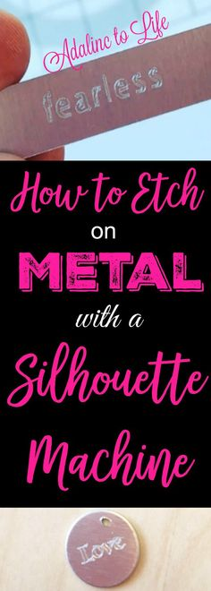 to Etch on Metal with Your Silhouette Curio Machine How to etch on metal with a silhouette curio machine.How to etch on metal with a silhouette curio machine. Silhouette Cameo Tutorials, Silhouette Curio Projects, Silouette Cameo Projects, Silhouette Portrait Machine, Silhouette Machine, Silhouette Files, Silhouette Studio, Silhouette Design, Shilouette Cameo