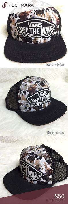 Vans x ASPCA Puppies Beach Girl Black Trucker Hat Brand new with tags, Adult, One Size. This Vans x ASPCA Puppies Beach Girl Black Trucker Hat is so cute & unique! Must have for any dog lover or anyone that supports animal rescue. Love the allover puppy print with the Vans Off The Wall patch on the front. It is like an explosion of puppies! This limited edition collaboration between Vans & ASPCA is sold out, your chance go grab it here. Adjustable in the back. I also have the kitty cat…