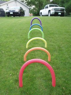 Rainbow obstacle course - could tape streamers on them :)