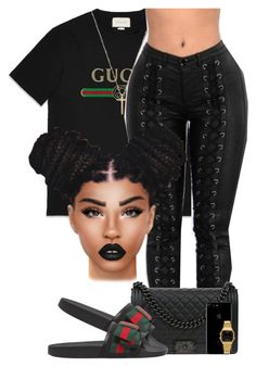 """Gucci x Gucci"" by chiamaka-ikaraoha ❤ liked on Polyvore featuring Gucci, Chanel and Casio"