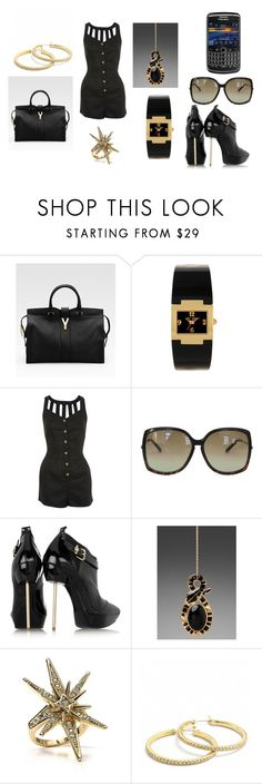 """Brooklynne-WorkPlace"" by breezygurl88 ❤ liked on Polyvore featuring Yves Saint Laurent, Betsey Johnson, Miss Selfridge, Versace, Belle Noel by Kim Kardashian and Coach"