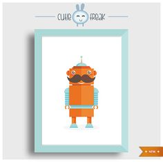 Moustache robot #Arte  #Ilustracion  #Digital_Art  #Illustration  #Digital  #poster  #prints_illustrations  #wall_decor  #home_decor  #childrens_room #kids_poster  #monsters_friends  #robot  #colorful_monster