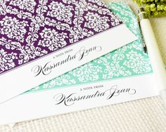 Personalized Notecard Set  Floral Damask  Set of 8 by CurioPress, $13.00