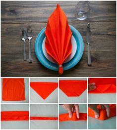 pliage serviette facile feuille automne serviette papier rouge