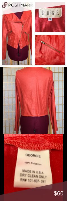 """Georgie Moto Jacket PRICE FIRM Stretch fabric looks like lightweight leather. Side zipped pockets and zipped sleeves.  19"""" in front, 18"""" in back. Sleeves are 22"""" from armpit. Unfinished look. (See photos) Georgie Jackets & Coats"""