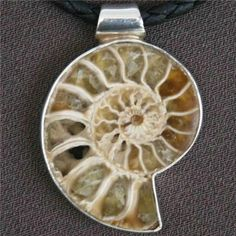 Unique Ammonite Fossil Pendant In Silver - Native American Jewelry - Tribal Jewelry - Unique Jewelry  Ammonite is a stone of protection. It provides for insight and it helps to assist one in seeing the whole picture. Gives stability to it's user. Since it is associated with the Root Chakra, it encourages ones survival instincts and is grounding.  The Ammonite is a Fossil, it takes many thousands of year for this Shell to fossilised and become as hard as a rock.  Pendant Size: 30mm $43