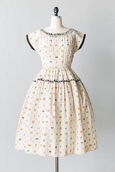 vintage 1950s cream silk butterfly print dress