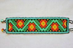 Beaded Bracelet Native American Bracelet Peyote Flower Huichol Bracelet Huichol Beadwork Enlightenment Good Luck Charm Hippie Bracelet