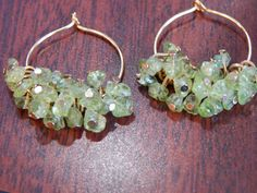 Peridot Chip Hoops by SadiesBaubles on Etsy