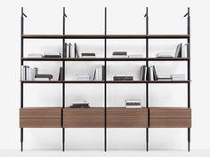 Open floor-ceiling mounted bookcase JACK By B&B Italia design Michael Anastassiades Display Shelves, Wall Shelves, Shelving, B & B, Italia Design, Deep Shelves, Floor Ceiling, Bookcase Storage, Catalogue