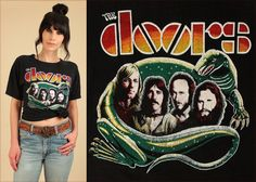 The DOORS ViNtAgE T-Shirt 70's Street Style Fashion 60s Rock Concert Tour Tee Jim Morrison Hippie Girl Psychedelic LizardKing  by Hellhound Vintage