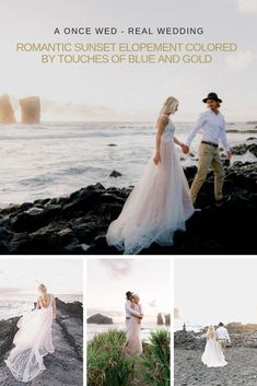 Fall in love with this romantic sunset elopement couple's session on OnceWed. With the incredible backdrop of Mosteiros Beach in Sao Miguel, this collection of wedding photography will make your heart melt. #weddingphotographyinspiration #couplessessioninspiration #elopementstyleweddings #destinationweddingphotos