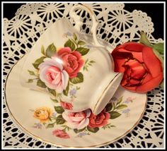 Vintage Royal Dover China Teacup and Saucer Set   Roses Royal Dover Vintage Made in England