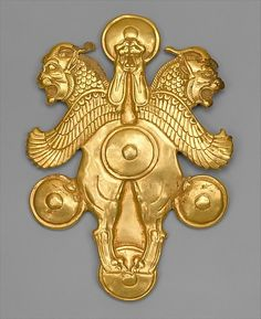 Gold Plaque with horned lion-griffins  Achaemenid Period    c. 6th-4th Century BC