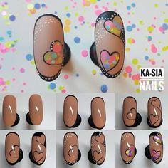 Make an original manicure for Valentine's Day - My Nails Nail Art Hacks, Nail Art Diy, Cool Nail Art, Diy Nails, Manicure, Heart Nail Art, Heart Nails, Jolie Nail Art, Valentine Nail Art
