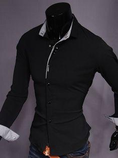 Turndown Collar Stripe Spliced Shirt #jewelry, #women, #men, #hats, #watches, #belts, #fashion