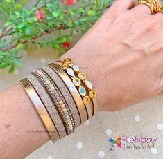 #handmade #bracelets #eye #gold #pinkgold #leatherjewelry #forher Handmade Bracelets, Handmade Jewelry, Leather Jewelry, Handmade Art, Pink And Gold, Bangles, Rainbow, Eye, Bracelets