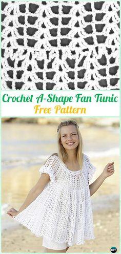 Crochet A-Shape Fan Tunic Free Pattern - #Crochet; Women Pullover Sweater #Top Free Patterns