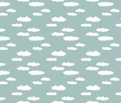 Dreams and clouds cool trendy scandinavian style hand drawn sky print blue fabric surface design by Little Smilemakers on Spoonflower - custom fabric and wallpaper inspiration