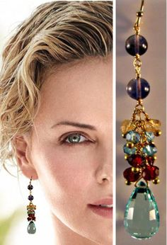 Gorgeous gemstone cluster earrings featuring 15mm micro faceted Aqua Blue Quartz drops suspended beneath 14kt gold filled chain adorned with 2-3mm gemstones including Garnet, Apatite, Citrine and Iolite, each gemstone wrapped with vermeil ball pins. These beautiful earrings dangle 2-1/2