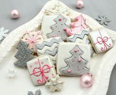 Silver and pink Christmas cookies