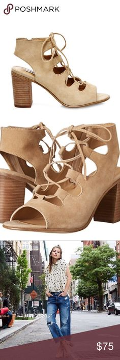 Steve Madden NWT heels nude sandal Brand New Steve Madden Lace Up heels in size 6.5 retail was $159.99. These shoes have never been worn, are extremely versatile, and online reviews rave about how comfortable yet fashion forward they are. Shoes are shipped without box to save on shipping cost. A beauty and fashion blogger favorite. SKU:451987 Steve Madden Shoes Lace Up Boots