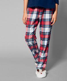Pantalon écru à carreaux - OYSHO