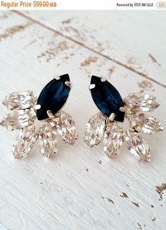 SALE Navy blue crystal stud earrings Bridal by EldorTinaJewelry Wedding Accessories, Jewelry Accessories, Jewelry Design, Cluster Earrings, Blue Earrings, Diamond Earrings, Accesorios Casual, Wedding Earrings, Beautiful Earrings