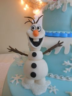"snowman OLAF from Disney ""Frozen"" cake  (gum paste)"