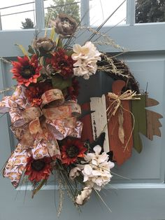 Orange and Ivory Floral W/ wooden leaf Grapevine Wreath for Front Door. AutumnGrapevine Wreath for Door, Be Thankful wreath for front door, by DesignsbyDebbyOhio on Etsy