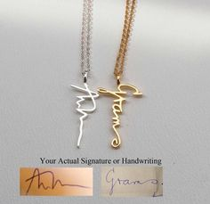 SALE 22% OFF - Actual Personalized Necklace - Handwriting Jewelry - Custom Necklace - Vertical Pendant by Bestyle on Etsy https://www.etsy.com/listing/175043527/sale-22-off-actual-personalized-necklace