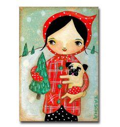 ORIGINAL Happy Holidays PUG dog with Christmas tree cute by tascha