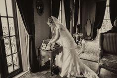 Veil and wedding dress.