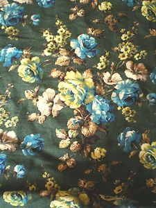 Vintage 1940's 50's O' Hanlon Linen Union Fabric Green Blue Roses by the Yard | eBay
