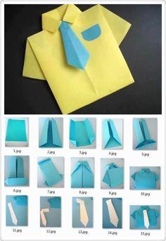 Camisa y corbata en origami
