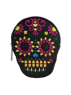 Bright Sugar Skull Flower Coin Bag by Loungefly
