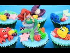 Disney Princess ARIEL Underwater Cupcakes  How To Make  by Cakes StepbyStep - YouTube