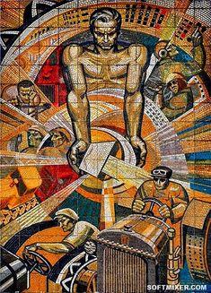 Chinese Propaganda Posters, Propaganda Art, Soviet Art, Soviet Union, Russian Constructivism, Socialist Realism, Russian Art, Mural Art, Op Art
