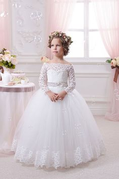 Cheap girl kids dress, Buy Quality kids dress directly from China kids dress up Suppliers: Appliques Long Sleeves Holy Communion Infant Lace Up Kids Floor Length Puffy Tulle Ball Gown Year Flower Girls Kids Dresses White Flower Girl Dresses, Lace Flower Girls, Dresses Kids Girl, White Communion Dress, First Communion Dresses, Tulle Ball Gown, Ball Gowns, Party Frocks, Bridesmaid Dresses