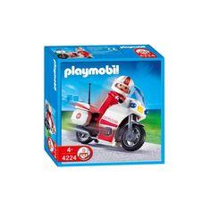 Flot hvid og rød ambulance motorcykel til hurtig udrykning i Playmobil byen.