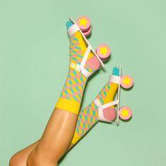 socks: Happy Socks || roller skates: handmade paper prop by Marion Toy