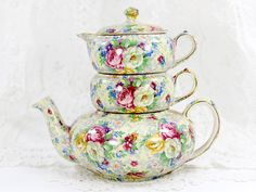 Lord Nelson Ware, Rose Time #Chintz, Stackable Teapot, Stacking Tea Pot 12568